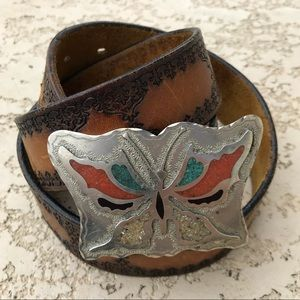 VINTAGE Boho Butterfly Buckle Tooled Leather Belt